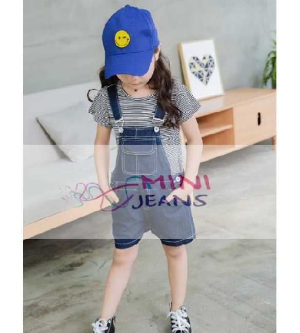 Set Girl Mini Jeans Overall Stripes