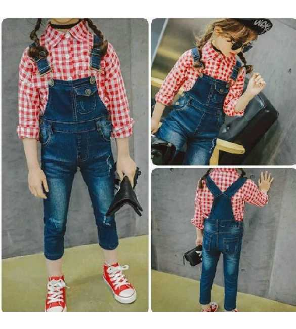 Set Girl Overall Jeans Plaid Red