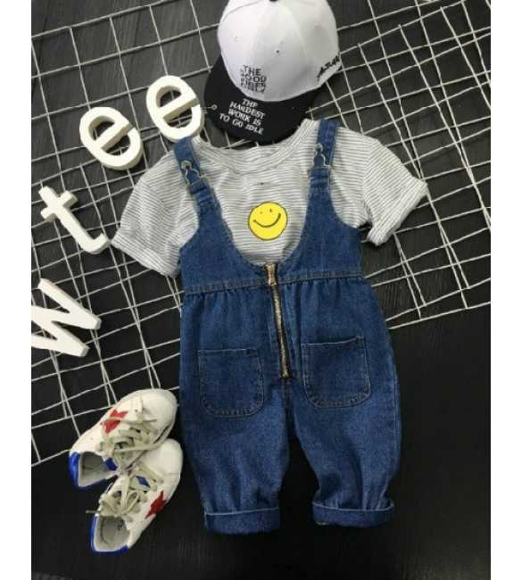 Set Overall Jeans Smile Stripes