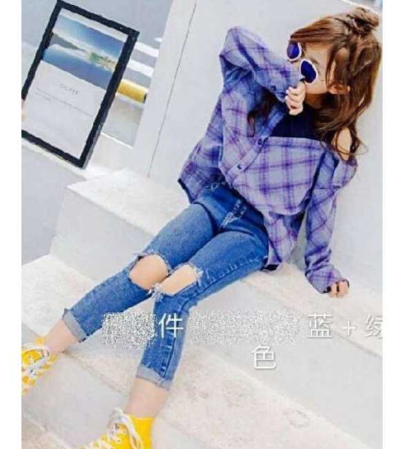 Set Girl Plaid Shirt Ripped Jeans