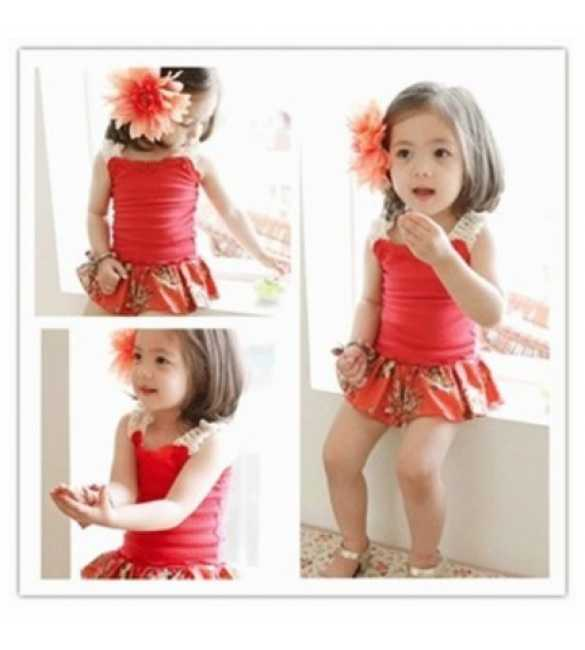 Set Koopo Lace Flower Red