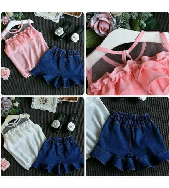 Set Korea Lace Pink dan White