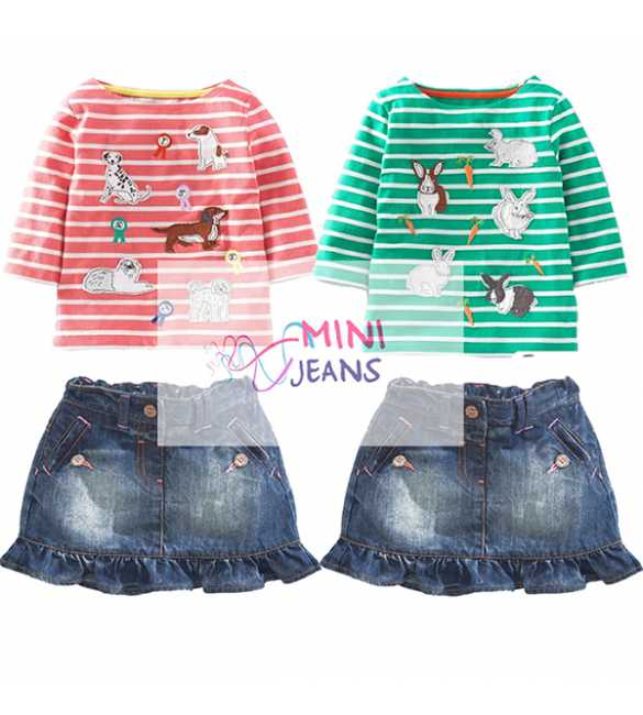 Set Mini Jeans Bunny and Dog Stripes