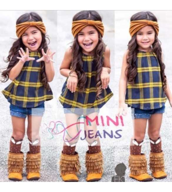 Set Mini Jeans Sleeveless Plaid Yellow
