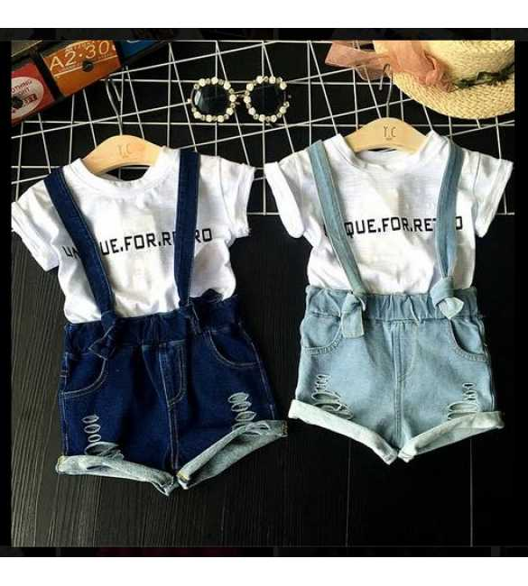 Set Unique Overall Ripped Jeans