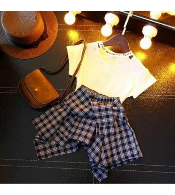 Setelan Anak Sasha White Plaid Skirt