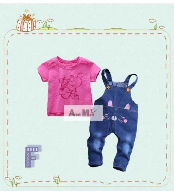 Setelan anak perempuan Ann Mee Overall Pink Panther