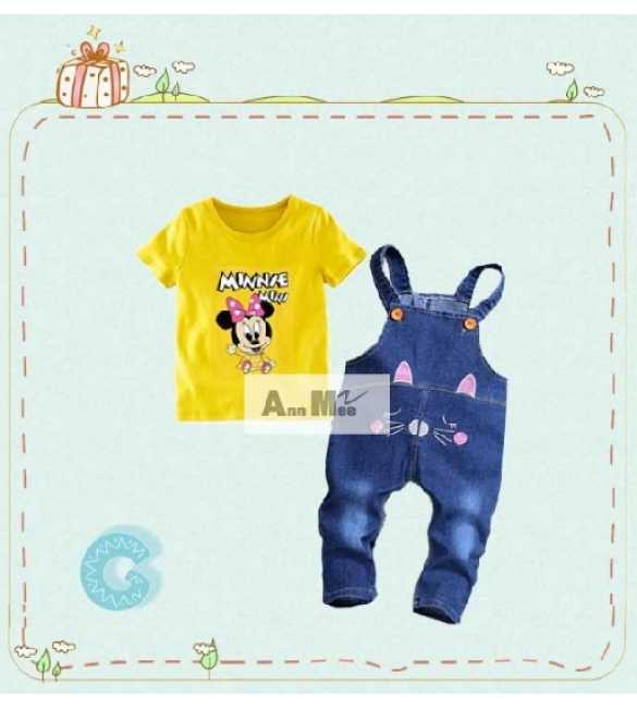 Setelan anak perempuan overall Ann Mee Minnie Yellow