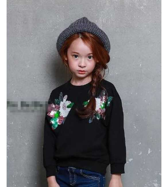 Sweater Anak Flower Glitter Black