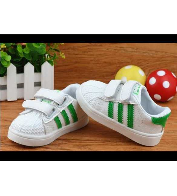WS051 - Shoes Superstar White Stripe Green (SMALL SIZE)