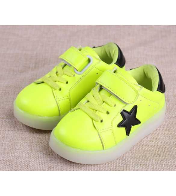 WS053 - LED Star Shoes warna hijau (MED SIZE)
