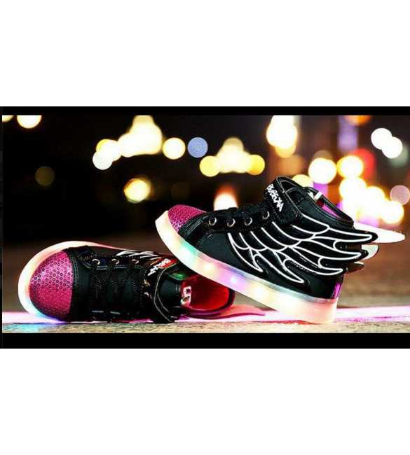 WS058 - LED Wings Shoes Black Pink (SMALL SIZE)