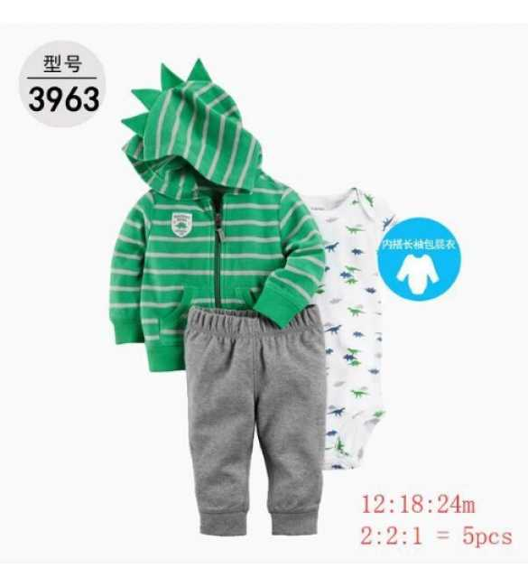 Baby Boy Set 3in1 hoodie stripe green