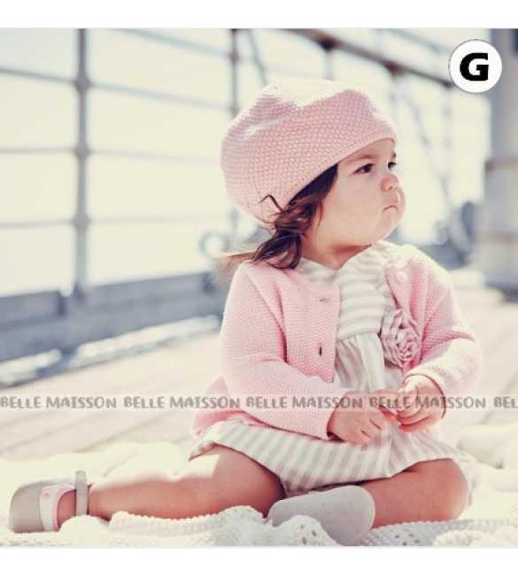 Set Dress Anak Belle Maison 3in1 Cardigan Pink kupluk (BABY SIZE)