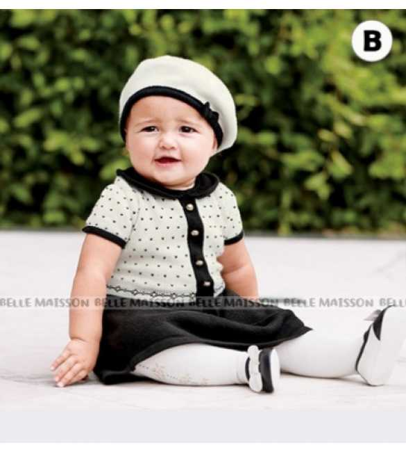 Set Dress Anak Belle Maison Hitam Polkadot (BABY SIZE)