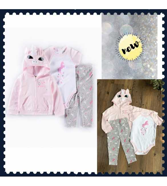 Set Jumper Jaket Bayi 3in1 Unicorn Pink