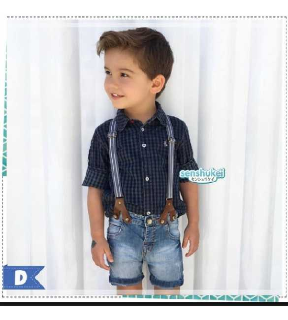 SENS 21D Set Senshukei Suspender Plaid Black (MED SIZE)