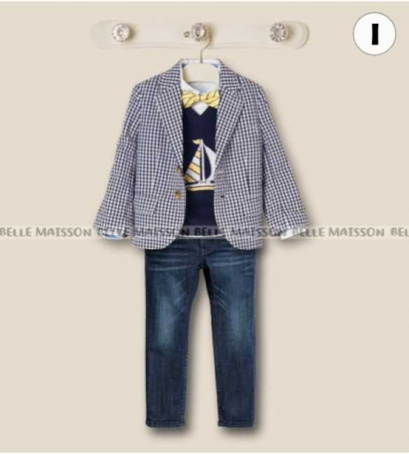 Set Boy Belle Maison Outer Plaid Blue