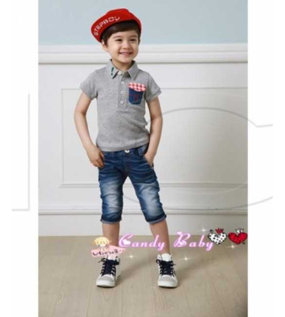 Setelan Candy Baby Boy Shirt Gray