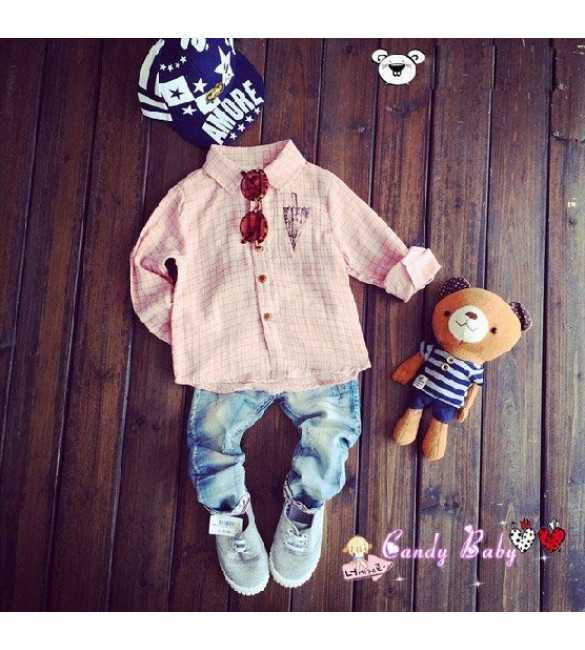 Set Boy Candy Baby Shirt Plaid Pink