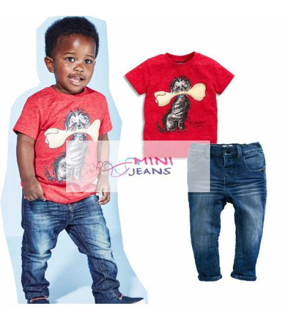 Set Mini Jeans Dog with bone red