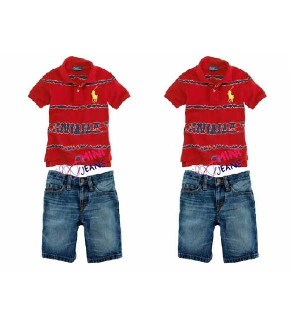 Setelan Mini Jeans Polo Stripe Red