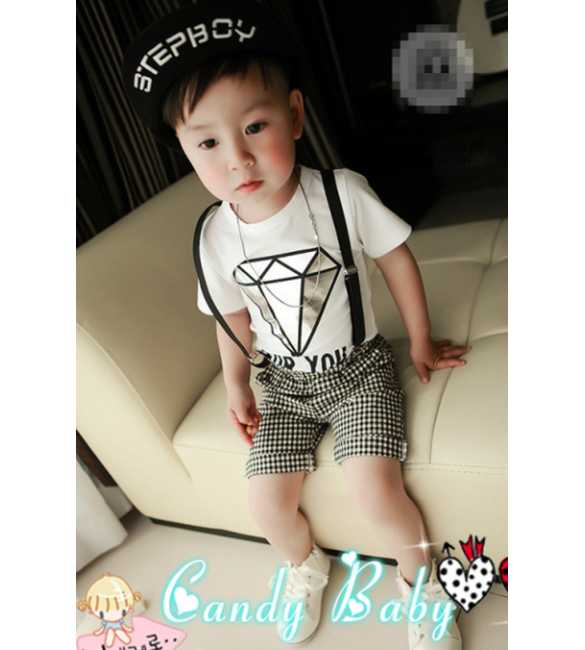 Setelan Suspender Candy Baby Diamond for You White
