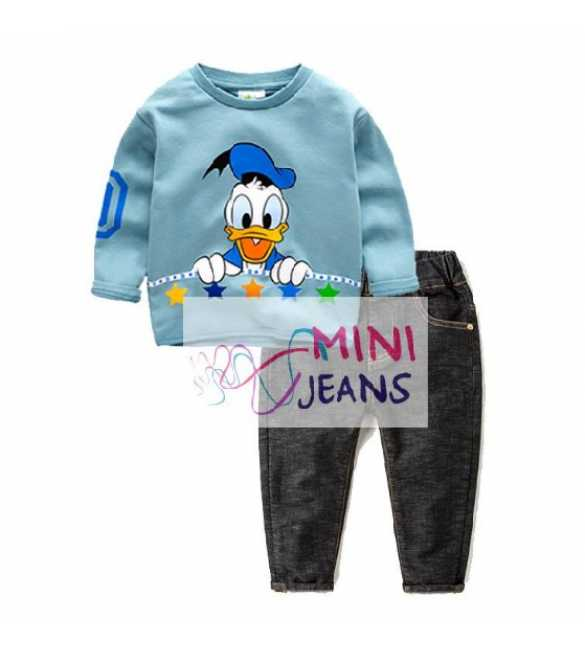 Setelan anak Mini Jeans Donald Duck Blue