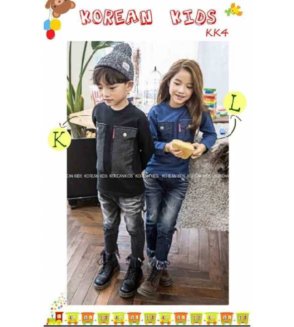Setelan anak korean Kids Button Black dan Blue