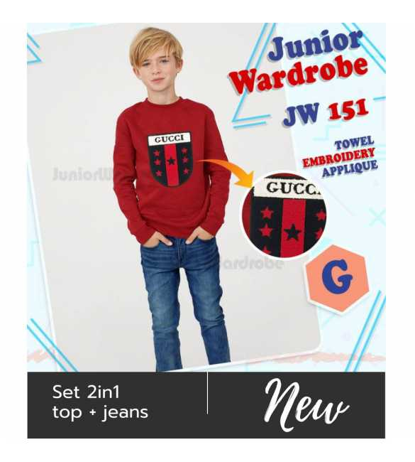 Setelan baju anak Junior wardrobe 151 G Gucci Red_BIG SIZE