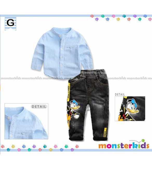 Setelan kemeja anak Monster Kids Donald Blue (BIG SIZE)