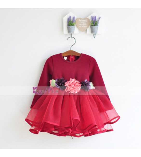 Dress Korea Pink Red Flower