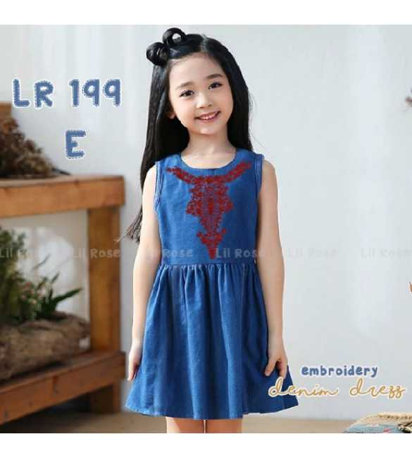 Dress anak perempuan Lil Rose 199 E Denim Bordir Merah (BIG SIZE)