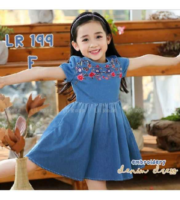 Dress anak perempuan Lil Rose 199 F Denim Bordir bunga (BIG SIZE)