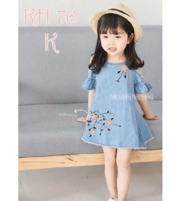 Dress denim anak perempuan Bunga Pink (BIG SIZE)
