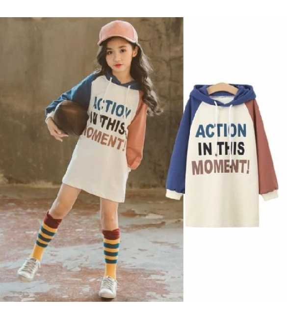 Dress hoodie anak action blue