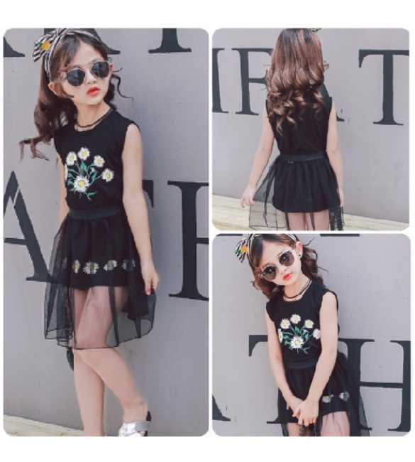 Dress tutu anak Flower Black