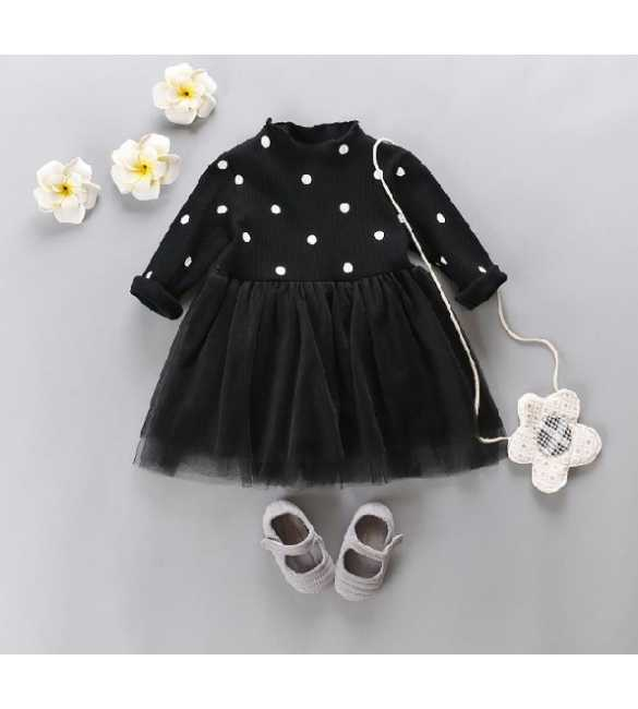 Dress tutu anak hitam polkadot