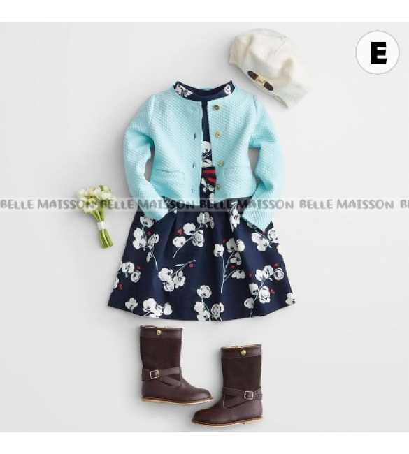 Set Dress Anak Belle Maison Cardigan Biru
