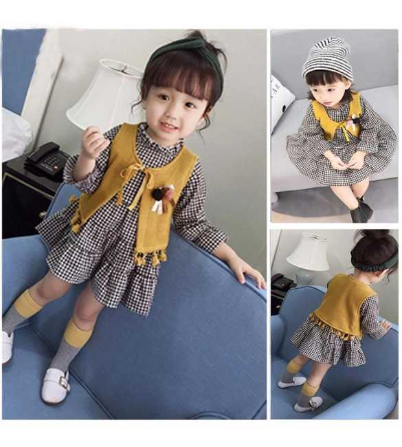 Set Dress Anak Nana Plaid Black