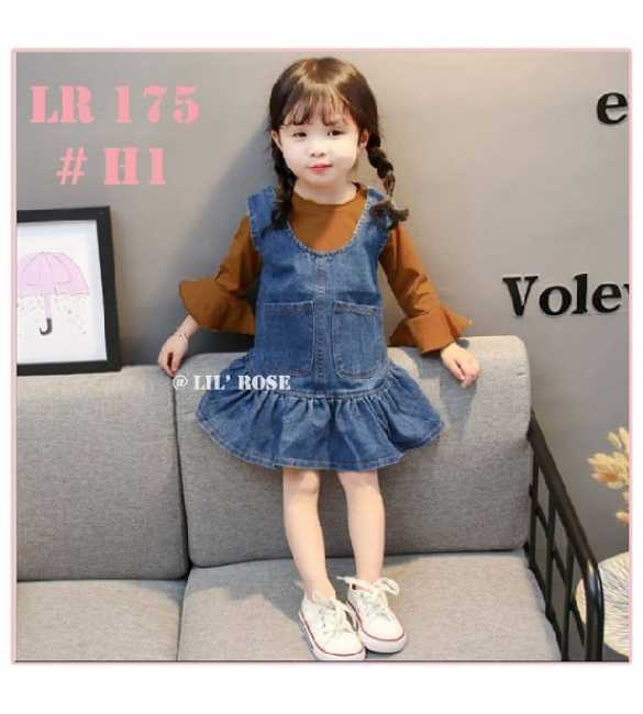 Set Dress Overall Lil Rose 175 Brown (BIG SIZE)
