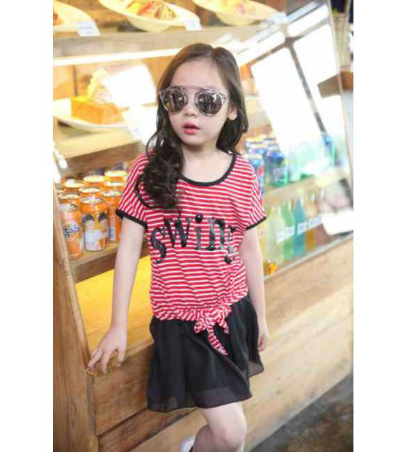 Set Girl Swing Stripe Red