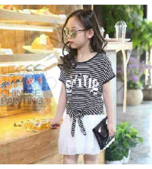 Set Girl Swing Stripe Skirt White