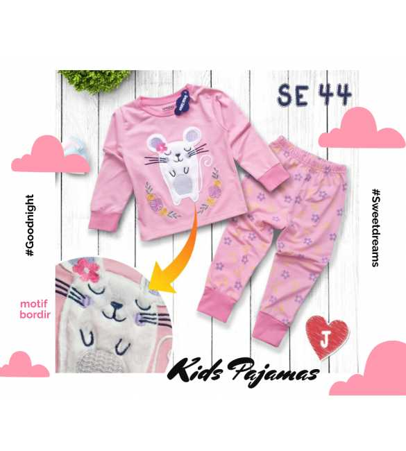 Piyama anak perempuan Special Edition SE 44 Mouse Pink_BIG SIZE