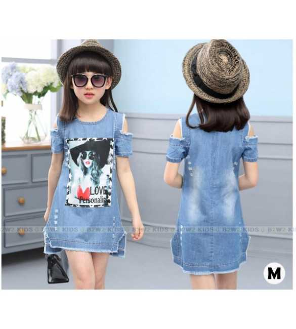 B2W2 12 M_dress anak denim love (BIG SIZE)