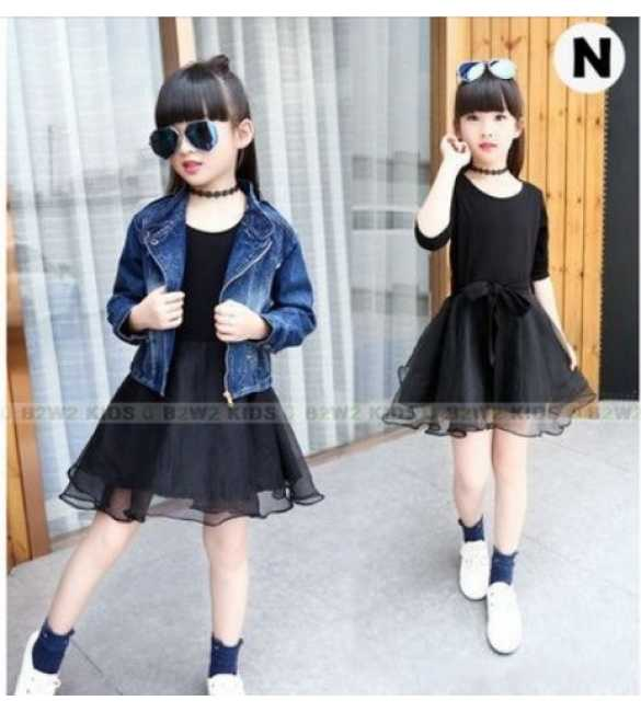 B2W2 12 N_Set Girl 3in1 tutu rompi jeans (BIG SIZE)