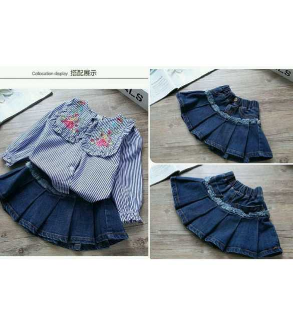 Girl set Mary Stripe Blue