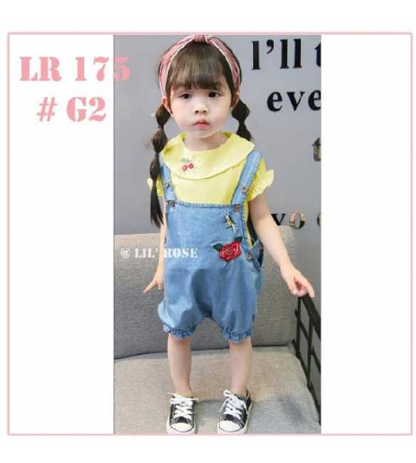 Setelan anak Lil Rose LR 175 Overall Cherry Yellow