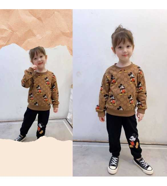 Setelan anak sweater brown mickey mouse