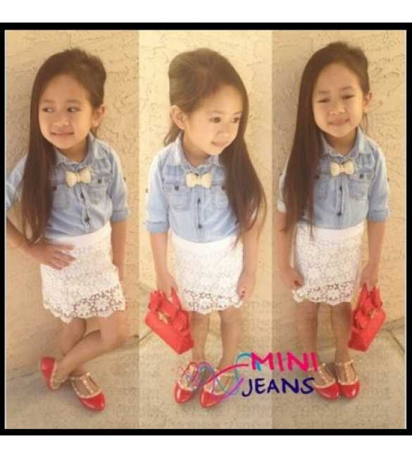 Setelan Mini Jeans Denim Skirt Lace White